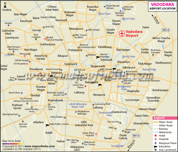 Vadodara City Map Vadodara Map
