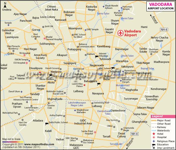 Baroda India Map.Vadodara Map